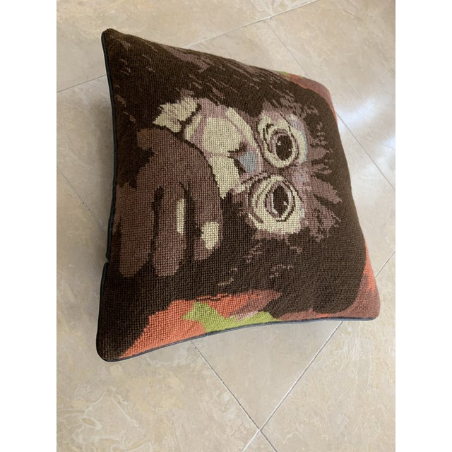 Mid 20th Century Vintage Mid Century Monkey Needlepoint Pillow For Sale - Image 5 of 7