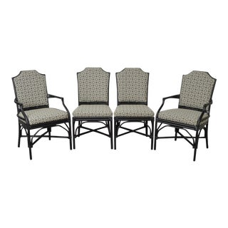 Palecek Pavilion Custom Upholstered Pole Rattan Dining Chairs - Set of 4