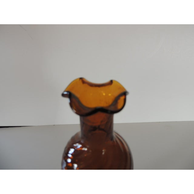 "Hand-Blown Amber Bud Vase Size: 3""D x 8""H"