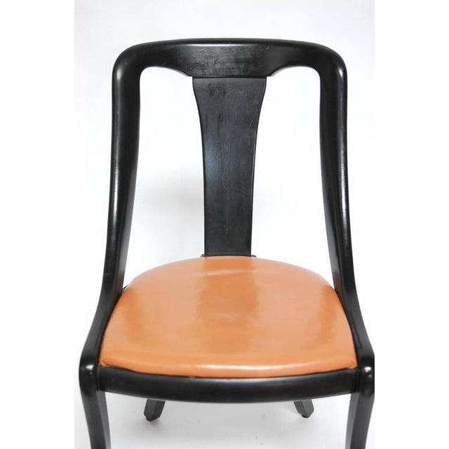 Set of Four Mid-Century Black Lacquer Dining Chairs - Image 6 of 10