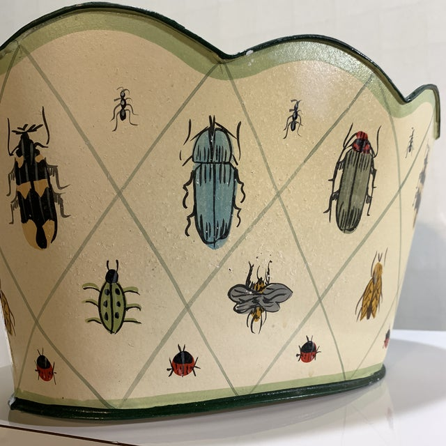 Metal Vintage Tole Painted Insect Motif Scalloped Edge Metal Planter For Sale - Image 7 of 12