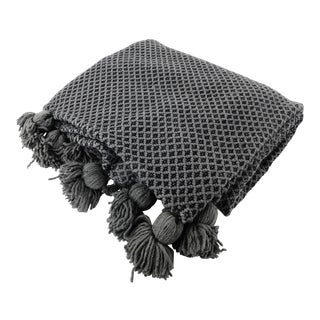 Hand Woven Moroccan Wool Blanket With Pom Poms For Sale