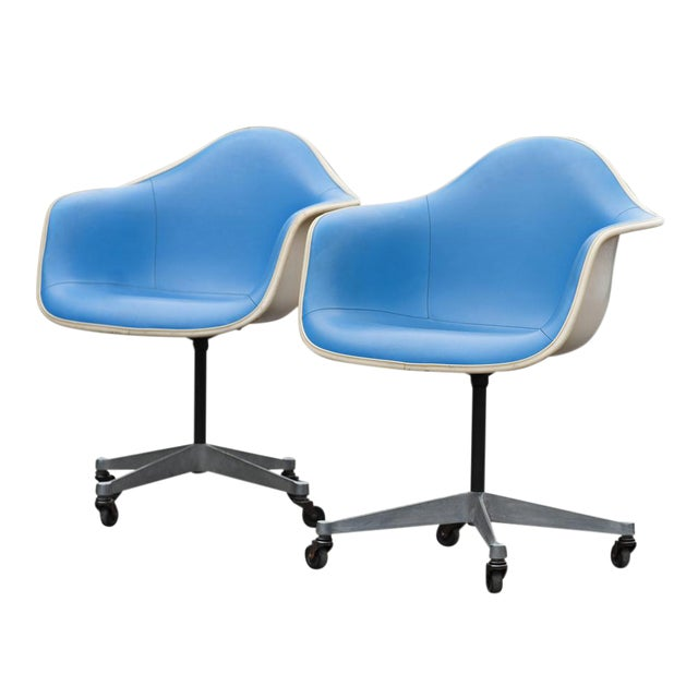 Herman Miller Blue Vinyl Shell Chairs - A Pair - Image 1 of 5
