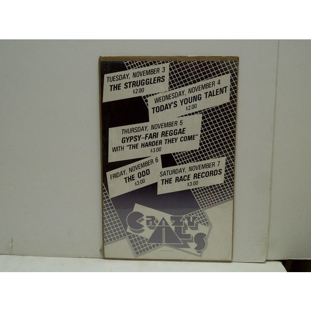 """This is a Vintage -- Concert Series Poster -- """"Crazy Al's"""" -- Circa 1980 -- The Poster Is Shrink-Wrapped To Cardboard"""