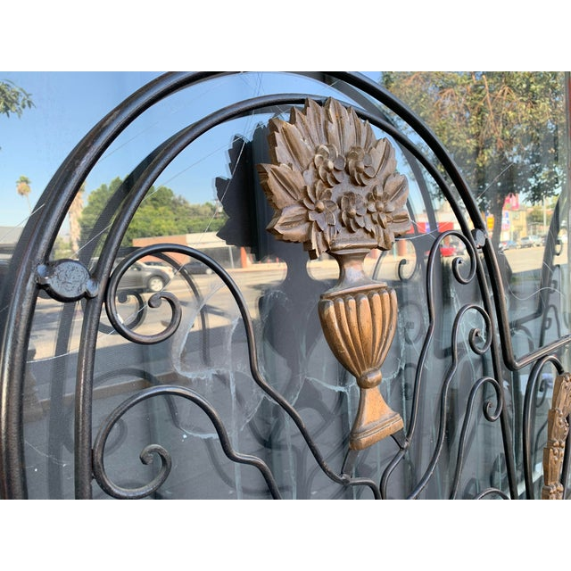 Hollywood Regency Vintage Hollywood Regency Wrought Iron and Wood Accent Headboard For Sale - Image 3 of 11