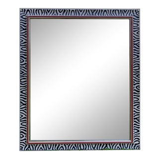 1970s Painted Zebra Framed Mirror