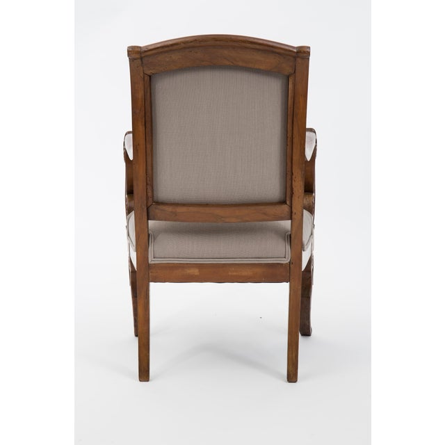 Solid Walnut Pair French Restauration Armchairs For Sale In Austin - Image 6 of 10