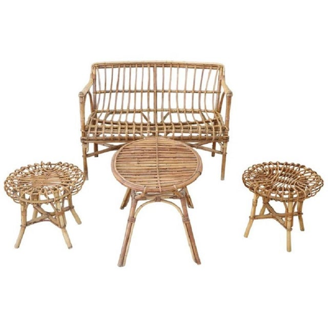 20th Century Italian Bamboo and Rattan Living Room Set of 4 Pieces, 1960s For Sale - Image 13 of 13