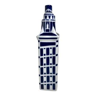 Vintage Sargadelos Traditional Blue and White Vase/Liquor Holder For Sale