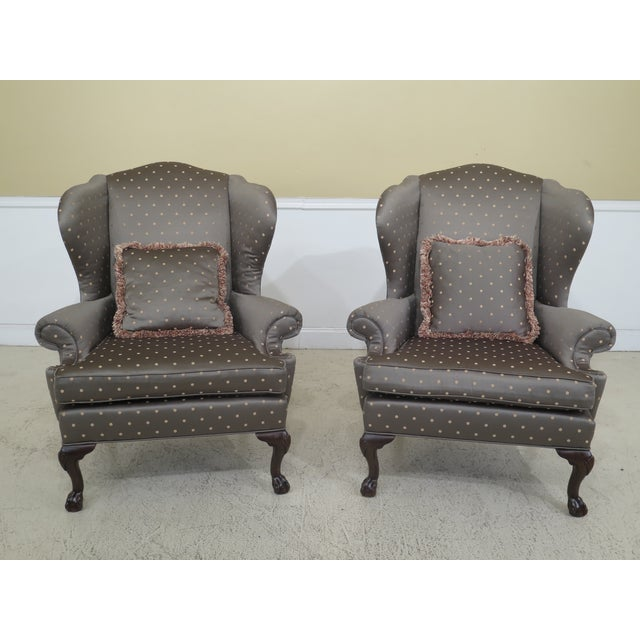 1990s Vintage Ethan Allen Ball & Claw Mahogany Wing Chairs- A Pair For Sale - Image 11 of 11