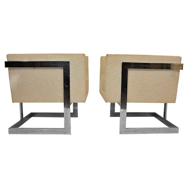 Pair of Milo Baughman Petit Cube Chairs For Sale In Boston - Image 6 of 6