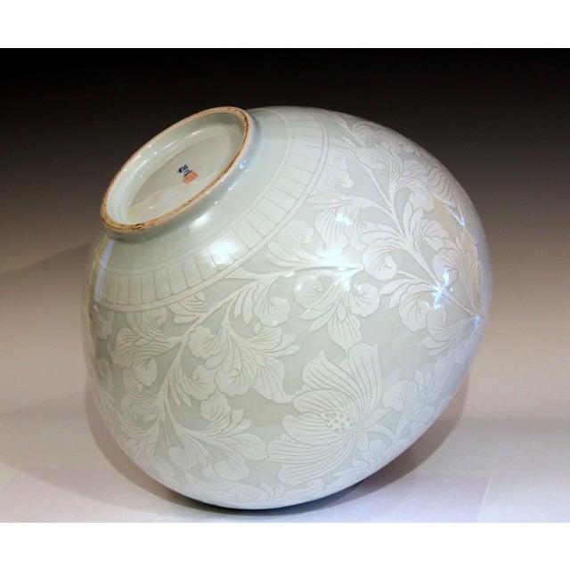 Art Nouveau Korean Studio Porcelain Large Moon White Vase Carved Slip Peony Scroll Jar For Sale - Image 3 of 7
