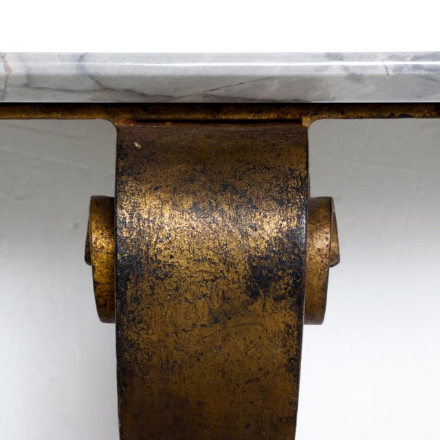 White Neoclassical Mexican Modernist Iron-Marble Wall Console Attr. Arturo Pani For Sale - Image 8 of 10