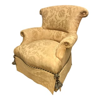 Baker Furniture Damask Skirted Wingback Chair For Sale