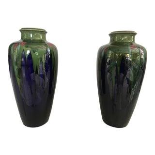 1900 Joseph l'Hermine-Declercq French Art Nouveau Flambe Glaze Vases - a Pair For Sale