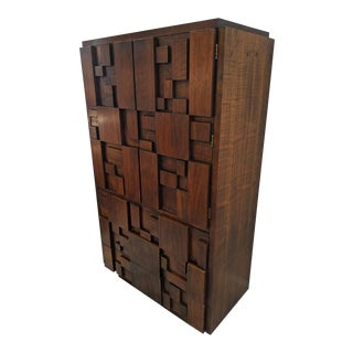 Altavista Lane Furniture, 1970's Brutalist Block Front Armoire For Sale
