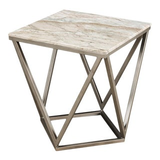 Trapezoid Side Table, Marble Top For Sale