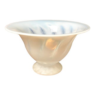Vintage Striped Handcrafted Opalescence Glass Footed Bowl For Sale
