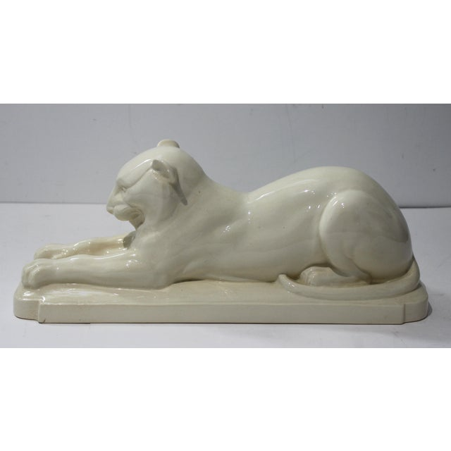 Art Deco 1930's White Panther Sculpture For Sale - Image 13 of 13