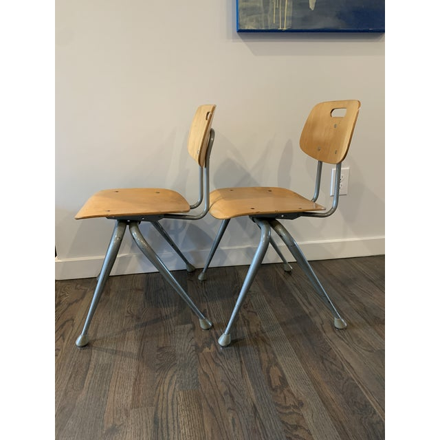 Mid-Century Modern 1950s Vintage Brunswick Wooden School Chairs With Bent Tubular Steel Legs - a Pair For Sale - Image 3 of 11