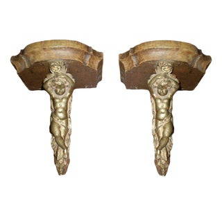 19th Century French Bronze and Wood Wall Brackets - a Pair For Sale