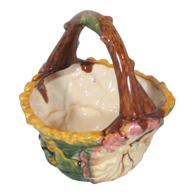 Vintage Majolica Pansy Basket For Sale