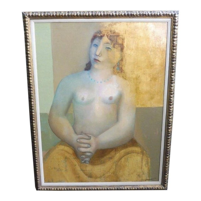Large Painting by Provincetown Painter Remo Michael Farrugio of His 3rd Wife Well Listed For Sale