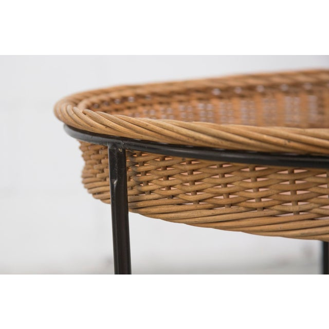 Teak and Woven Rattan Rolling Cart - Image 4 of 7