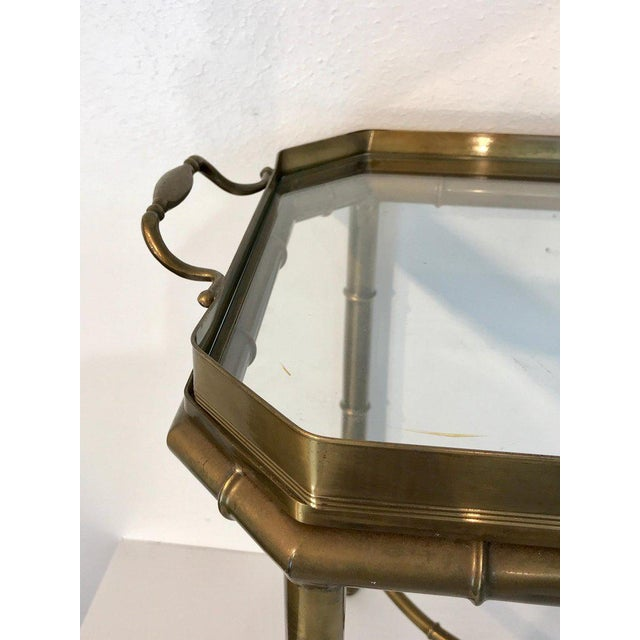 Faux Bois Campaign Style Patinated Brass Tray Table, by Mastercraft For Sale In West Palm - Image 6 of 9