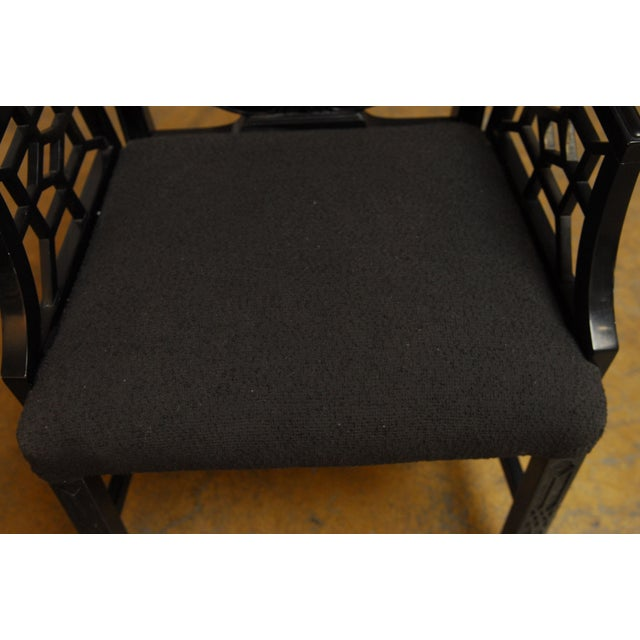 Black Lacquer Chinese Chippendale Armchair - Pair - Image 7 of 7