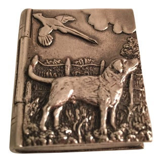 Vintage Silver Scenes Small Trinket Box With Hunter Dog For Sale