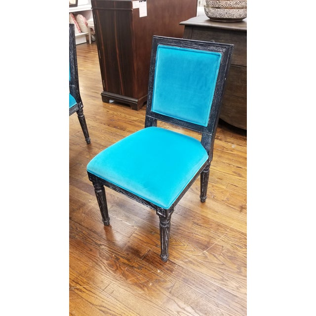 2010s Worlds Away Black Cerused Oak Side Chair For Sale - Image 5 of 5
