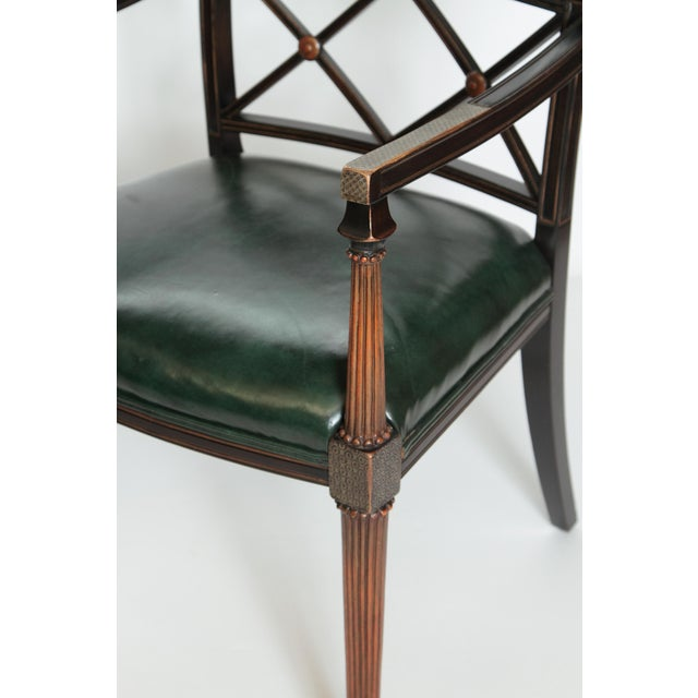 Interior Crafts Pair of Regency Style Lacquer Arm Chairs For Sale - Image 4 of 13