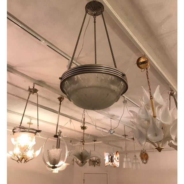 Art Deco French Art Deco Geometric Chandelier Signed by Muller Frères Luneville For Sale - Image 3 of 11