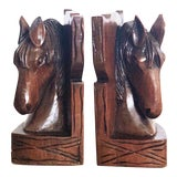 Image of Vintage Wooden Horse Bookends - a Pair For Sale
