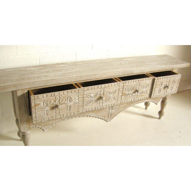 Primitive Custom Ceruse Oak Wood Carved Console With Turned Legs and Drawers For Sale - Image 3 of 7