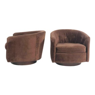 Selig 1960s Brown Velour Swivel Base Lounge Chairs - a Pair