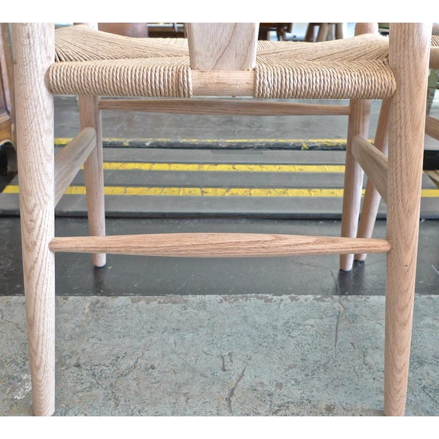 Contemporary Danish 1960s Style Wishbone White Oak Riff Wood Arm Chairs - Set of 6 For Sale - Image 10 of 13