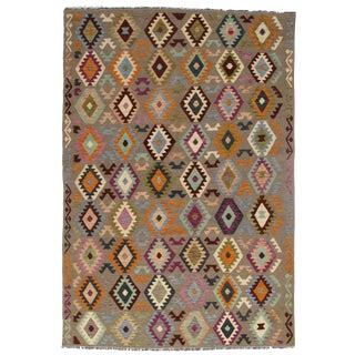 Afghan Kilim Handspun Wool Rug - 8′ × 9′10″ For Sale