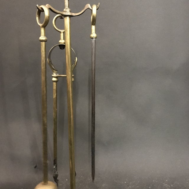 1950's Three Piece Set of Brass Over Cast Iron Fireplace Tools with Stand - 4 Pieces For Sale In Los Angeles - Image 6 of 10