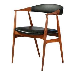 1960s Mid-Century Modern Th. Harlev Armchair in Teak and Black Leatherette Farstrup Mobler For Sale