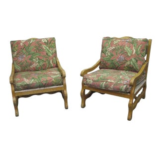 Early 20th Century Vintage Large South Florida Style Floral Upholstered Porch Chairs- a Pair For Sale