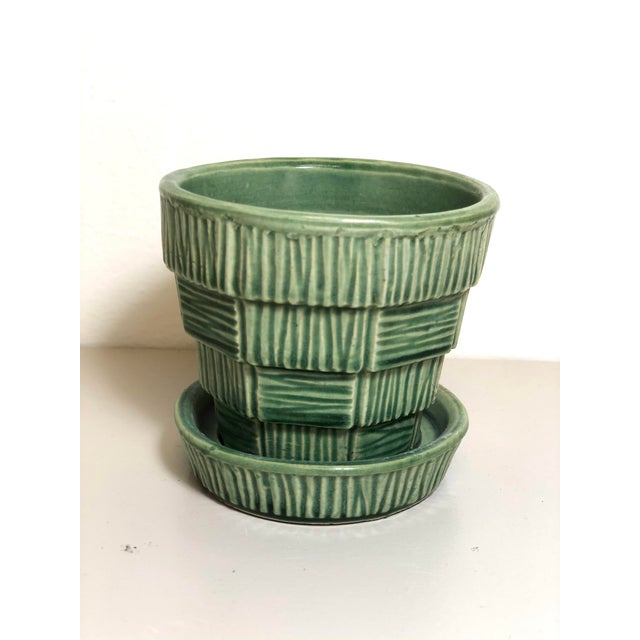 """McCoy Pottery Small """"Green"""" Mid-Century Flowerpot and Saucer For Sale - Image 10 of 10"""