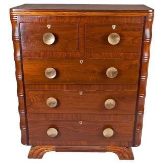 Mid-Century Modern Teak and Brass Chest of Drawers For Sale