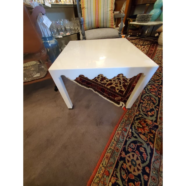Metal White Small Seagrass & Metal Side Table For Sale - Image 7 of 7
