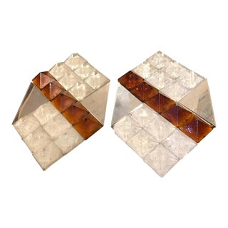 1970s Italian Vintage Mazzega Attributed White and Brown Murano Glass Wall Sconces - a Pair For Sale