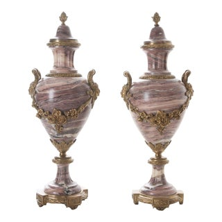 Mid 19th Century French 19th Century Purple Marble & Bronze Cassolettes - a Pair For Sale