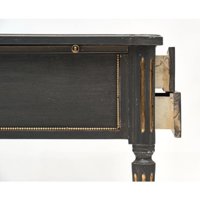 Gold Antique French Louis XVI Style Gray Painted Desk For Sale - Image 8 of 13