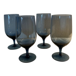 Mid-Century Blue Cocktail Glasses - Set of 4 For Sale