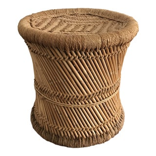 Vintage Boho Chic Pencil Bamboo and Woven Jute Accent Table For Sale